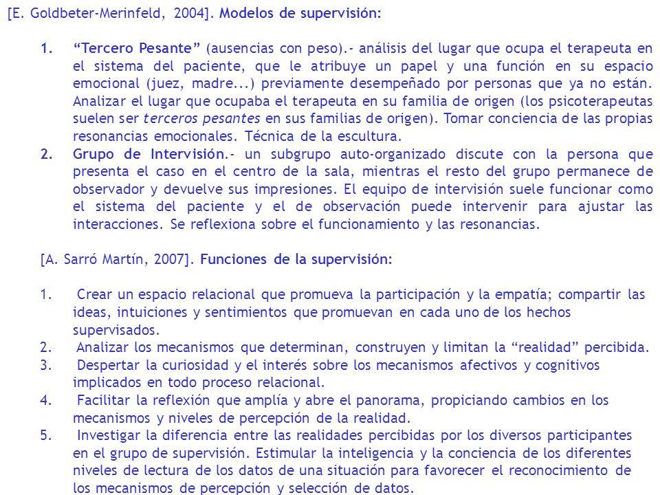 [E. Goldbeter-Merinfeld, 2004]. Modelos de supervisión: 1.Tercero Pesante (ausencias con peso).- análisis del lugar que ocupa el terapeuta en el siste