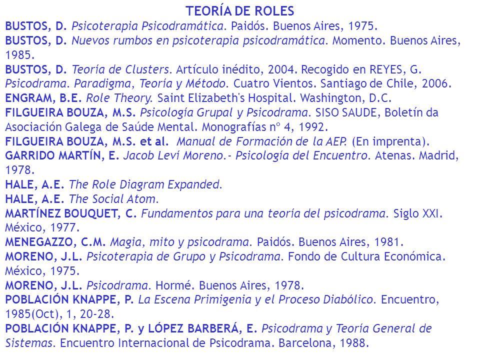 TEORÍA DE ROLES BUSTOS, D. Psicoterapia Psicodramática. Paidós. Buenos Aires, 1975. BUSTOS, D. Nuevos rumbos en psicoterapia psicodramática. Momento.