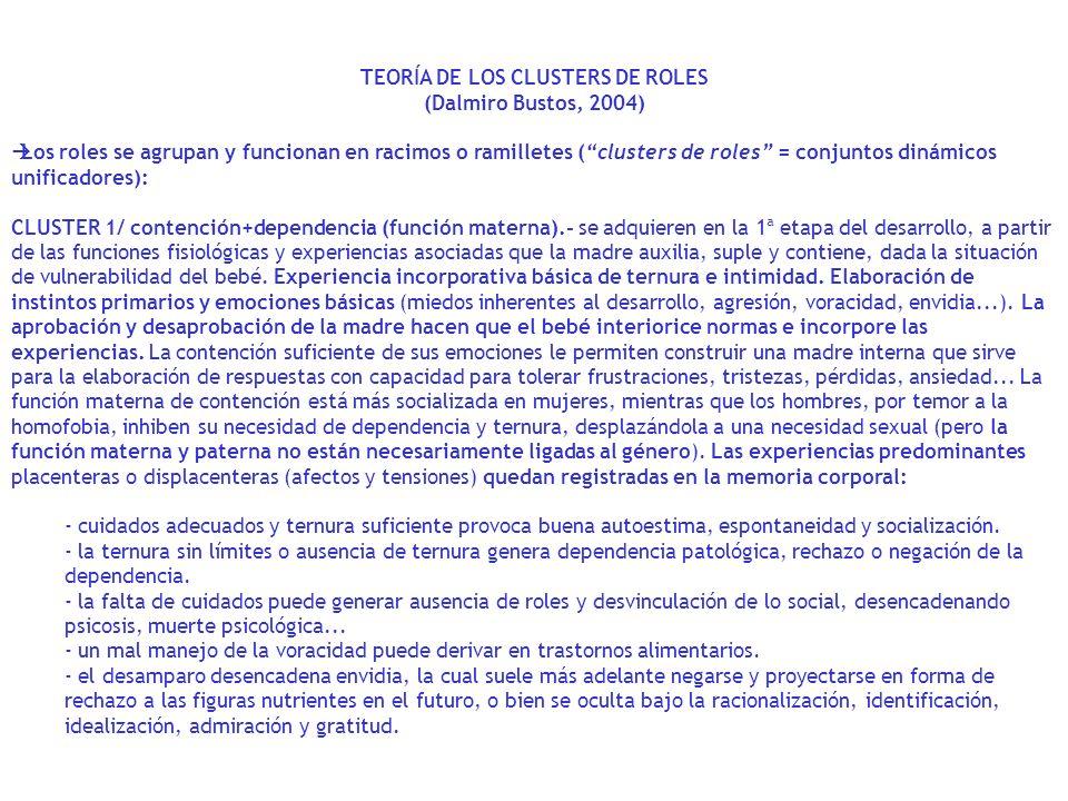 TEORÍA DE LOS CLUSTERS DE ROLES (Dalmiro Bustos, 2004) Los roles se agrupan y funcionan en racimos o ramilletes (clusters de roles = conjuntos dinámic