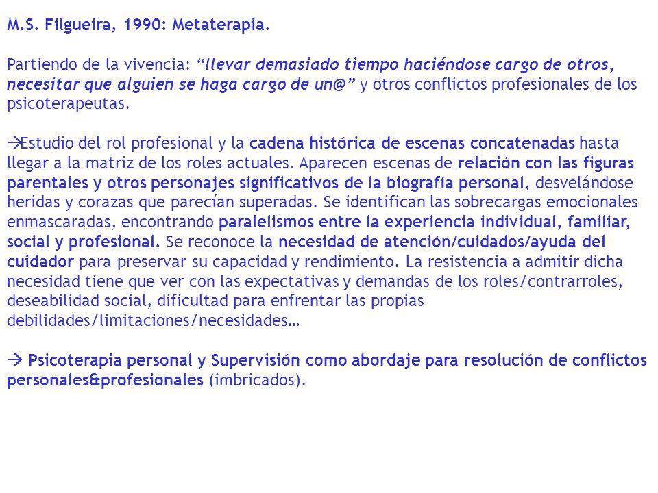 M.S. Filgueira, 1990: Metaterapia. Partiendo de la vivencia: llevar demasiado tiempo haciéndose cargo de otros, necesitar que alguien se haga cargo de