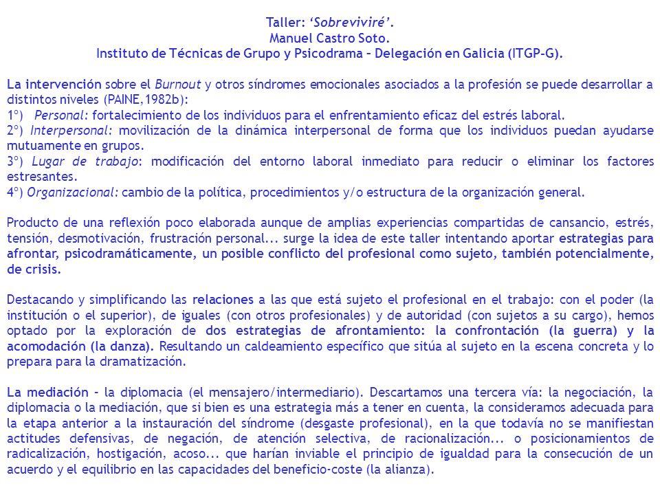 Taller: Sobreviviré. Manuel Castro Soto. Instituto de Técnicas de Grupo y Psicodrama – Delegación en Galicia (ITGP-G). La intervención sobre el Burnou