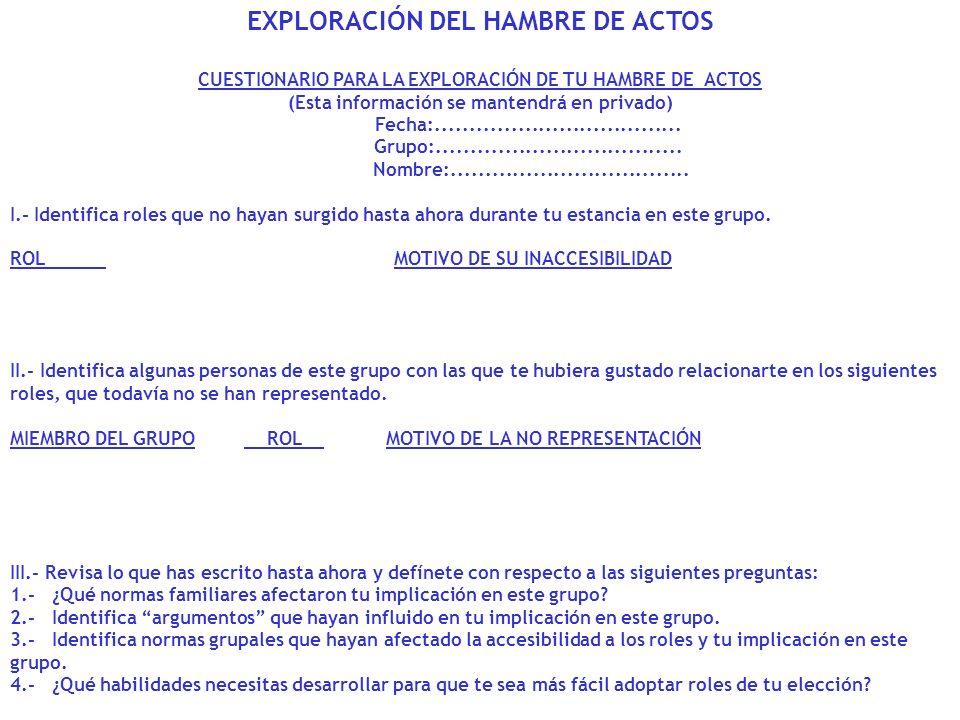 EXPLORACIÓN DEL HAMBRE DE ACTOS CUESTIONARIO PARA LA EXPLORACIÓN DE TU HAMBRE DE ACTOS (Esta información se mantendrá en privado) Fecha:..............