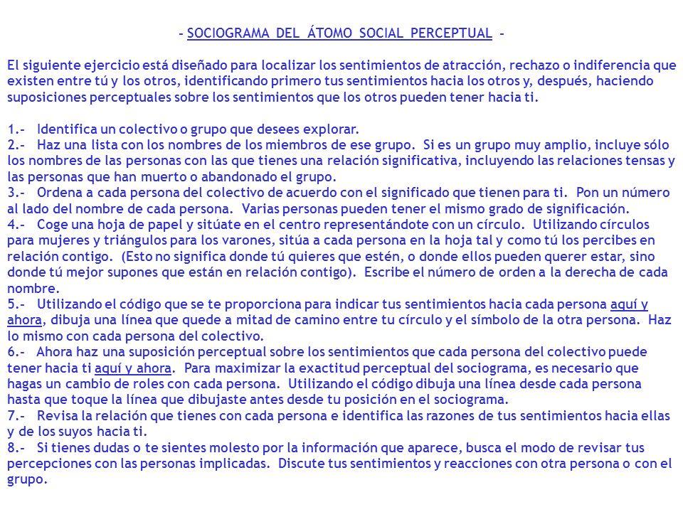 - SOCIOGRAMA DEL ÁTOMO SOCIAL PERCEPTUAL - El siguiente ejercicio está diseñado para localizar los sentimientos de atracción, rechazo o indiferencia q
