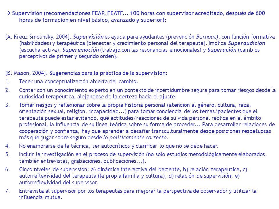 Supervisión (recomendaciones FEAP, FEATF... 100 horas con supervisor acreditado, después de 600 horas de formación en nivel básico, avanzado y superio