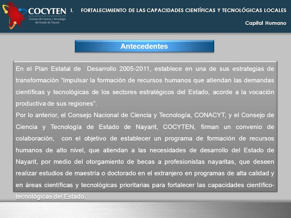 I.FORTALECIMIENTO DE LAS CAPACIDADES CIENTÍFICAS Y TECNOLÓGICAS LOCALES Capital Humano Antecedentes En el Plan Estatal de Desarrollo 2005-2011, establ