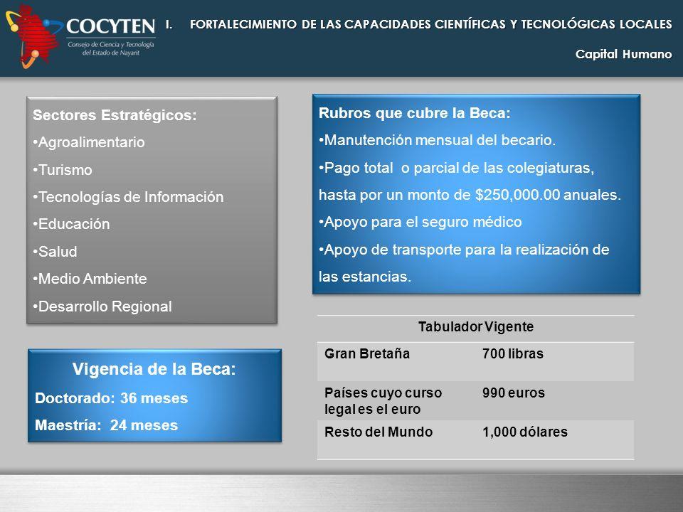 I.FORTALECIMIENTO DE LAS CAPACIDADES CIENTÍFICAS Y TECNOLÓGICAS LOCALES Capital Humano Requisitos para la Candidatura: Llenado del formato de Solicitud electrónico ( Portal Web del CONACYT).