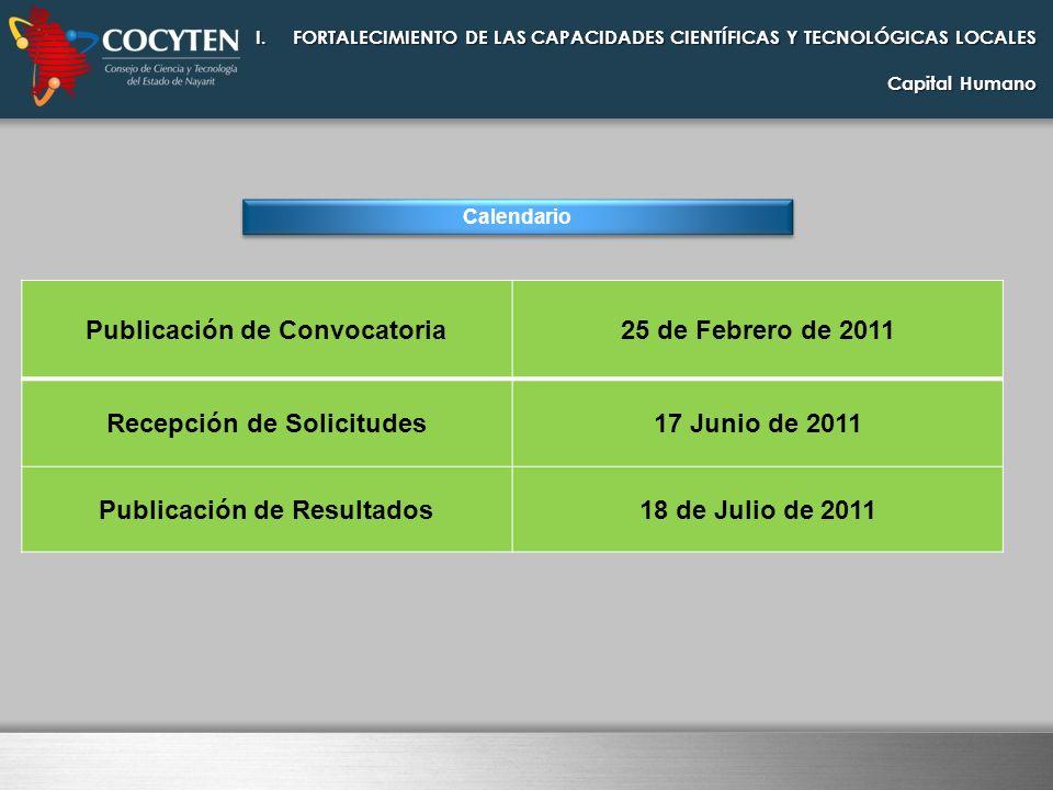 I.FORTALECIMIENTO DE LAS CAPACIDADES CIENTÍFICAS Y TECNOLÓGICAS LOCALES Capital Humano Calendario Publicación de Convocatoria25 de Febrero de 2011 Rec