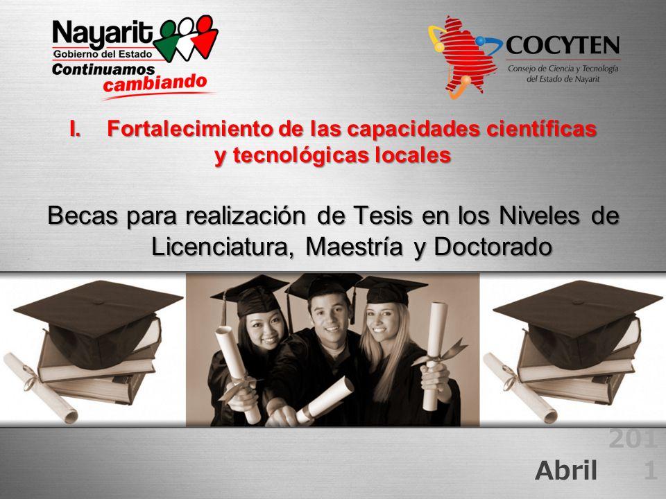 I.Fortalecimiento de las capacidades científicas y tecnológicas locales Becas para realización de Tesis en los Niveles de Licenciatura, Maestría y Doc