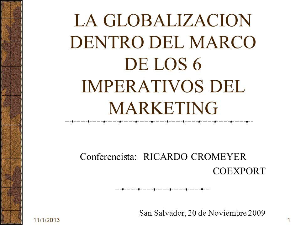 11/1/20132 LOS 6 IMPERATIVOS DEL MARKETING 1.PRODUCTIVIDAD 2.INNOVACION 3.CANALES DE DISTRIBUCION 4.ALIANZAS, JOINT-VENTURES 5.