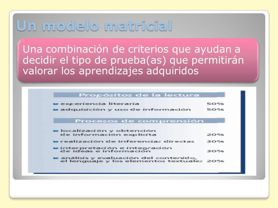 Un modelo matricial: componentes Contenidos Procesos cognitivos Contextos