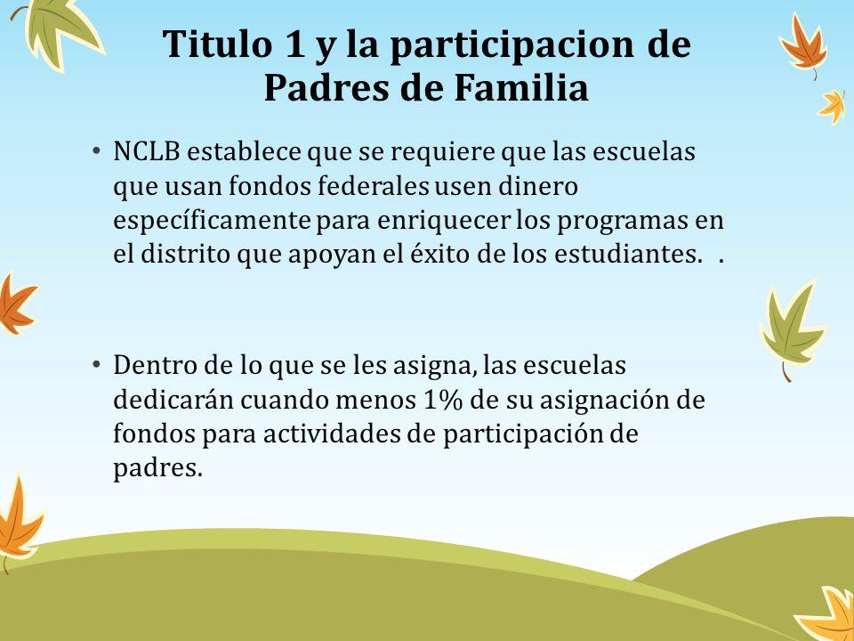 Titulo 1 y la participacion de Padres de Familia NCLB establece que se requiere que las escuelas que usan fondos federales usen dinero específicamente