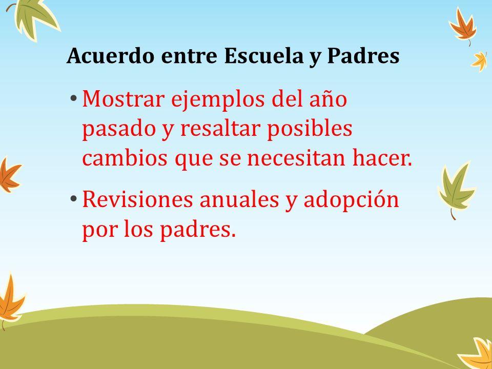 Acuerdo entre Escuela y Padres Mostrar ejemplos del año pasado y resaltar posibles cambios que se necesitan hacer. Revisiones anuales y adopción por l