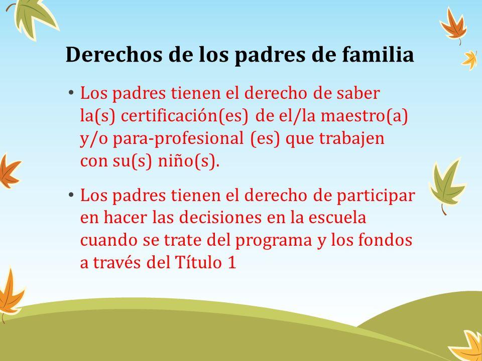 Derechos de los padres de familia Los padres tienen el derecho de saber la(s) certificación(es) de el/la maestro(a) y/o para-profesional (es) que trab