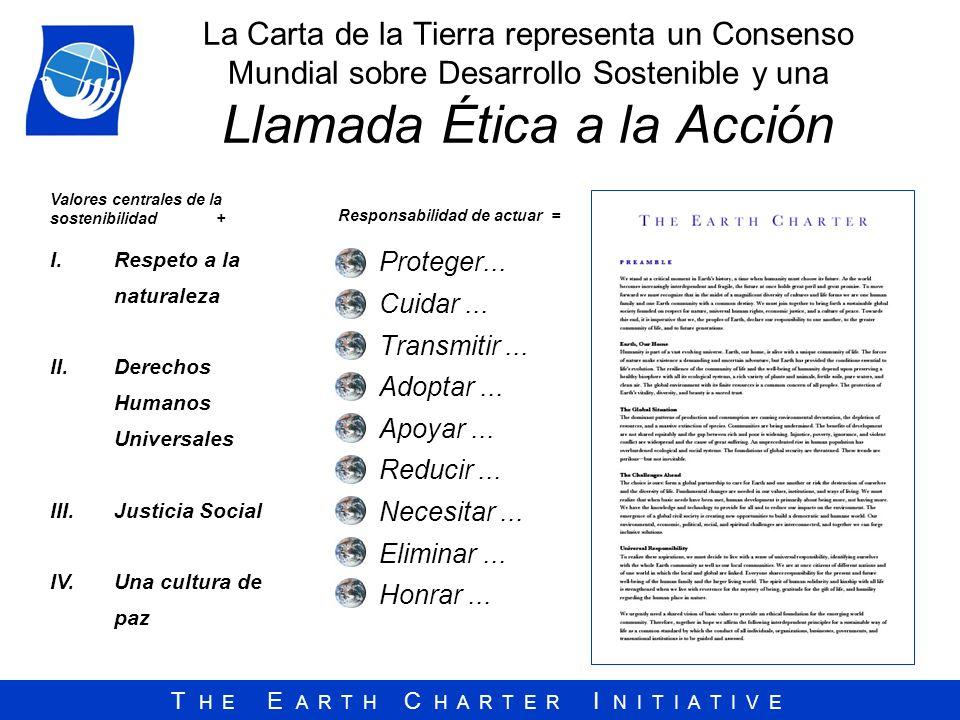 T H E E A R T H C H A R T E R I N I T I A T I V E La Carta de la Tierra representa un Consenso Mundial sobre Desarrollo Sostenible y una Llamada Ética