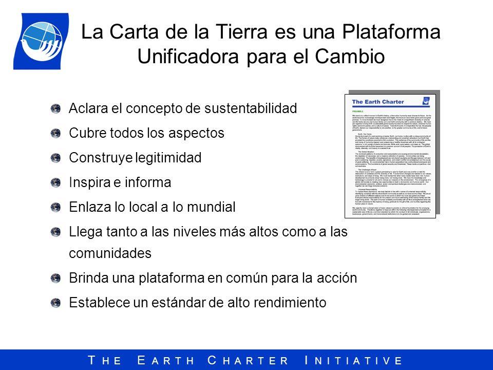 T H E E A R T H C H A R T E R I N I T I A T I V E La Carta de la Tierra es una Plataforma Unificadora para el Cambio Aclara el concepto de sustentabil