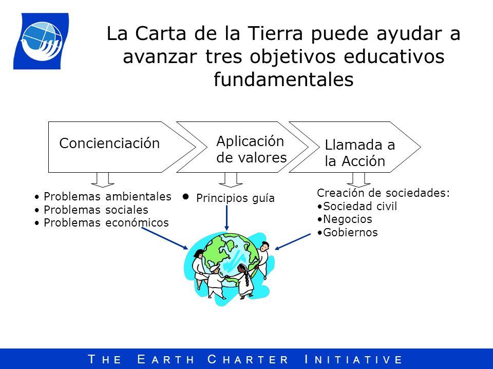 T H E E A R T H C H A R T E R I N I T I A T I V E La Carta de la Tierra puede ayudar a avanzar tres objetivos educativos fundamentales Creación de soc