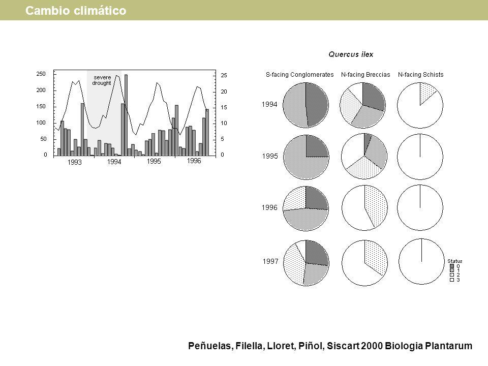 Peñuelas, Filella, Lloret, Piñol, Siscart 2000 Biologia Plantarum Cambio climático