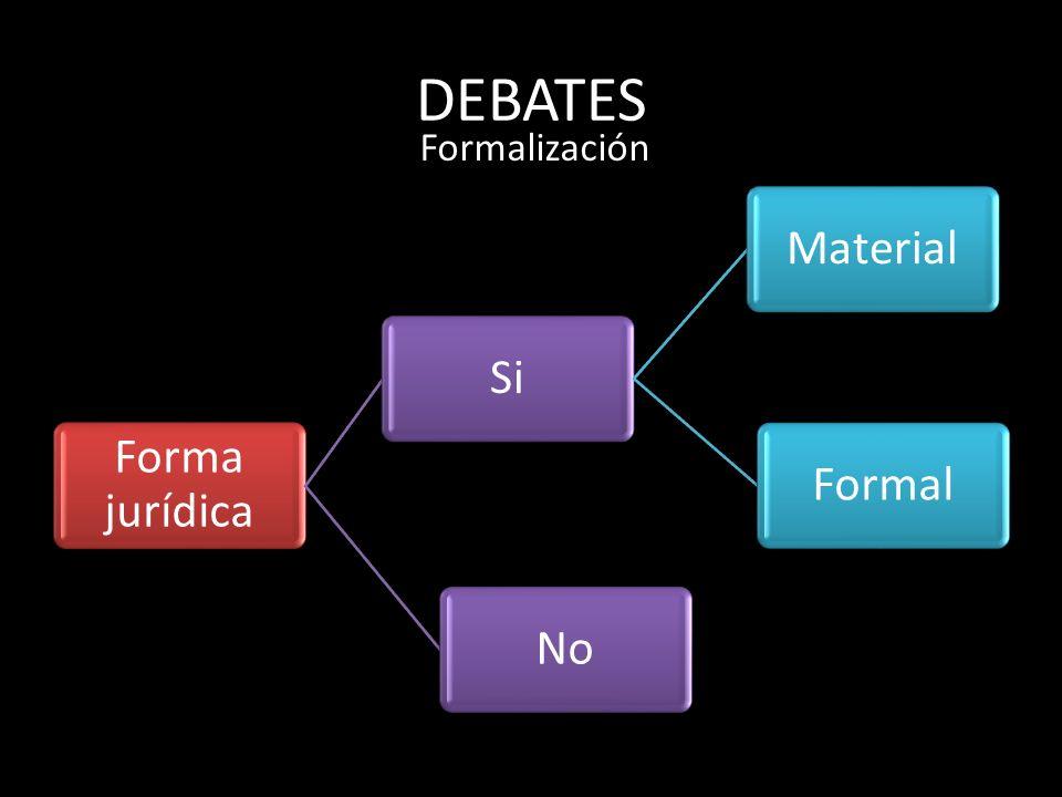 DEBATES Forma jurídica SiMaterialFormalNo Formalización
