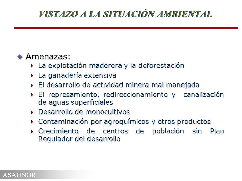 ASAHNOR VISTAZO A LA SITUACIÓN AMBIENTAL u Proyectos: SIAPAZ (UICN) SIAPAZ (UICN) Procuenca Río San Juan (OEA y PNUMA) Procuenca Río San Juan (OEA y PNUMA) Infraestructura y consolidación Zona Norte (AID) Infraestructura y consolidación Zona Norte (AID) PPZN (FIDA) PPZN (FIDA) Conservación y Desarrollo Arenal (Fondo Canje) Conservación y Desarrollo Arenal (Fondo Canje) Corredor Biológico Mesoamericano (GTZ) Corredor Biológico Mesoamericano (GTZ)