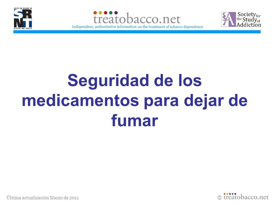 Última actualización Marzo de 2011 Áreas para continuar investigando La seguridad de la nicotina y otros medicamentos para la cesación tabáquica, incluyendo el impacto en la salud y el desarrollo de recién nacidos de madres que recibieron medicación durante el embarazo.