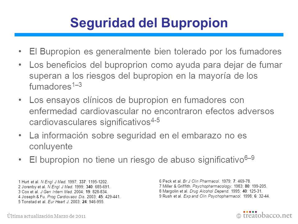 Última actualización Marzo de 2011 1 Hurt et al. N Engl J Med. 1997; 337: 1195-1202. 2 Jorenby et al. N Engl J Med. 1999; 340: 685-691. 3 Cox et al. J