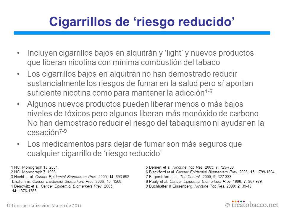 Última actualización Marzo de 2011 1 NCI Monograph 13. 2001.5 Bernert et al. Nicotine Tob Res. 2005; 7: 729-738. 2 NCI Monograph 7. 1996.6 Blackford e
