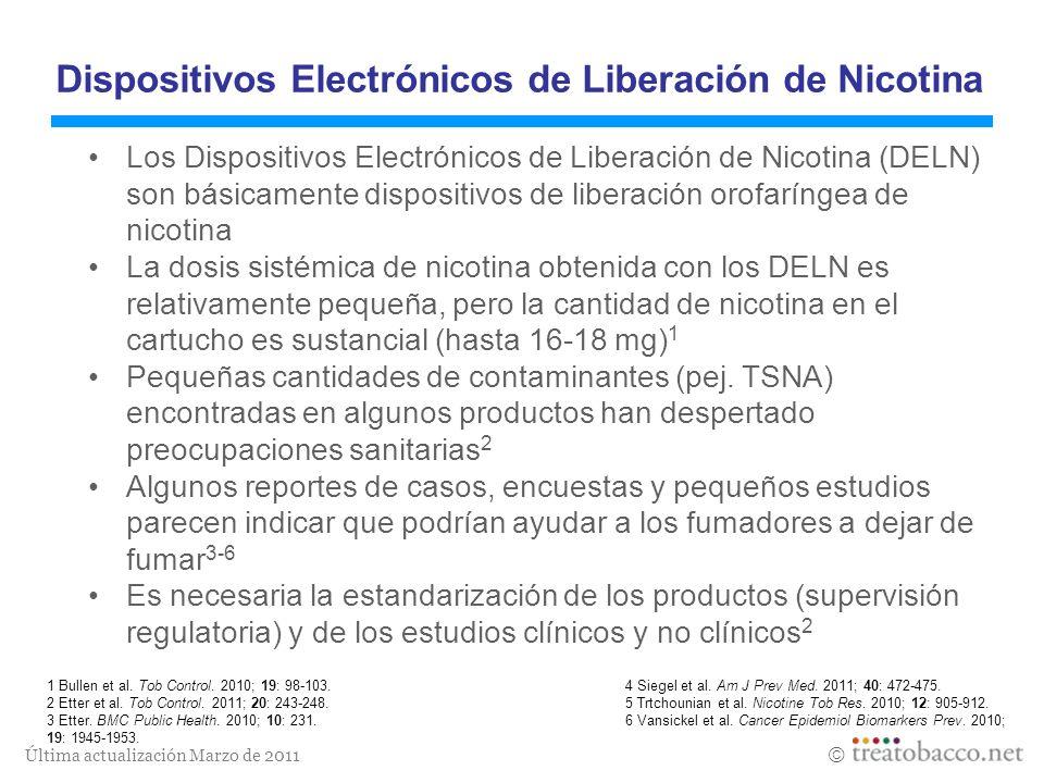 Última actualización Marzo de 2011 Dispositivos Electrónicos de Liberación de Nicotina Los Dispositivos Electrónicos de Liberación de Nicotina (DELN)