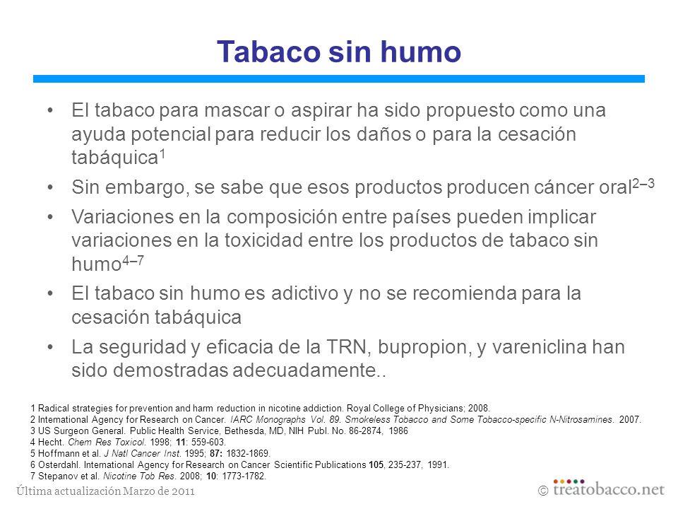 Última actualización Marzo de 2011 Tabaco sin humo El tabaco para mascar o aspirar ha sido propuesto como una ayuda potencial para reducir los daños o