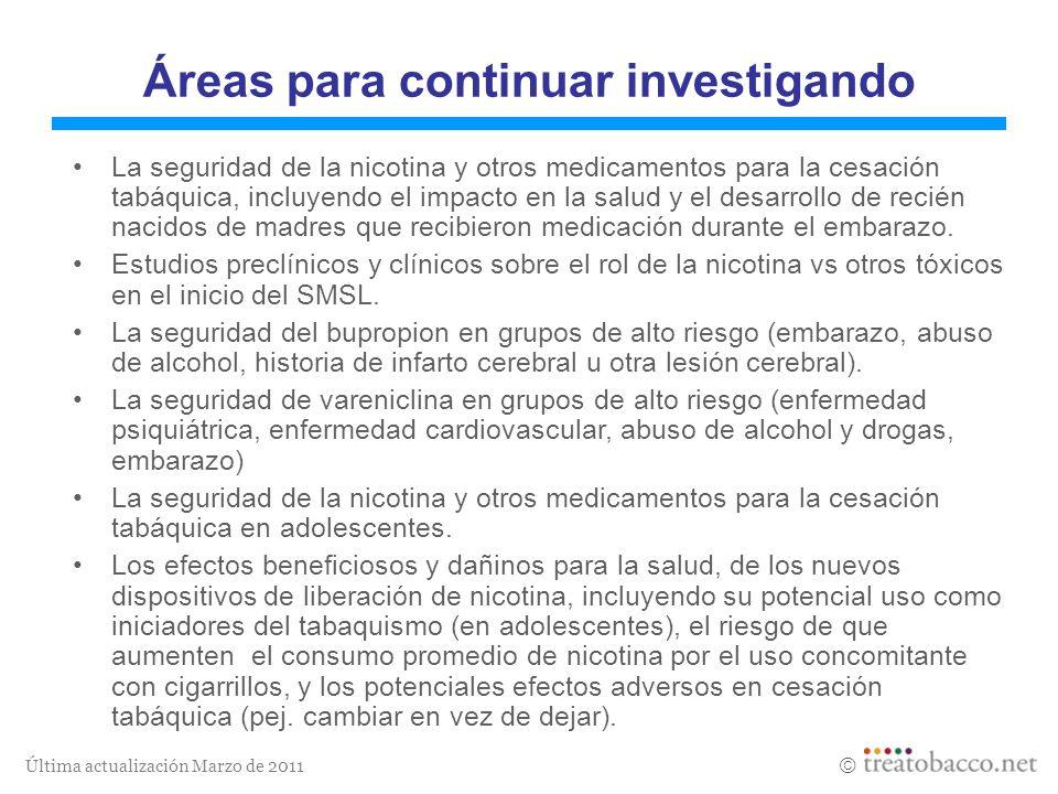 Última actualización Marzo de 2011 Áreas para continuar investigando La seguridad de la nicotina y otros medicamentos para la cesación tabáquica, incl