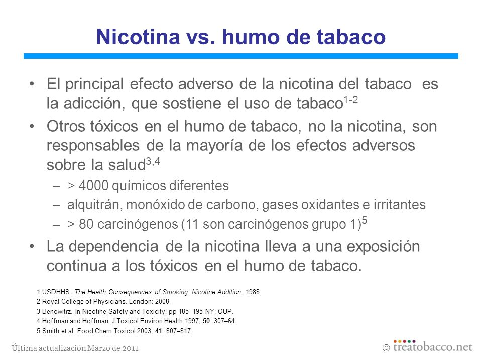 Última actualización Marzo de 2011 1 USDHHS. The Health Consequences of Smoking: Nicotine Addition. 1988. 2 Royal College of Physicians. London: 2008.