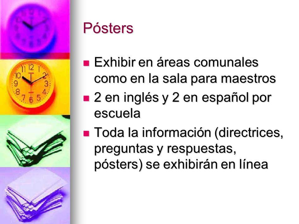 Pósters Exhibir en áreas comunales como en la sala para maestros Exhibir en áreas comunales como en la sala para maestros 2 en inglés y 2 en español p