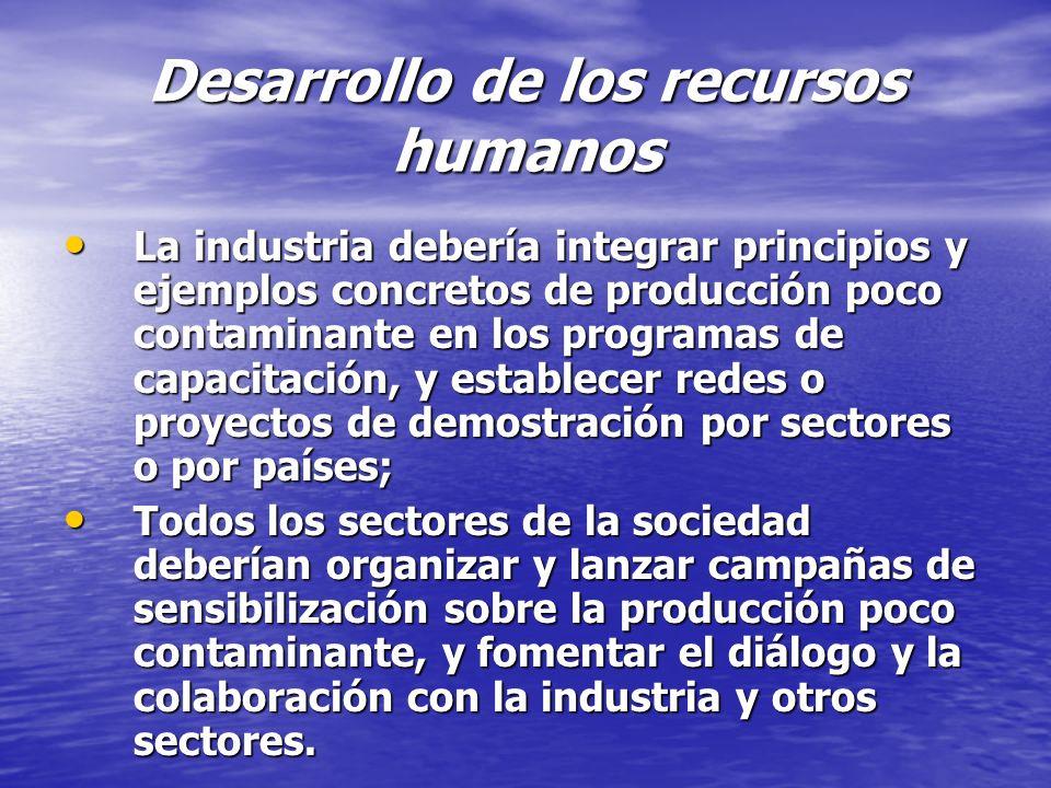 Desarrollo de los recursos humanos La industria debería integrar principios y ejemplos concretos de producción poco contaminante en los programas de c