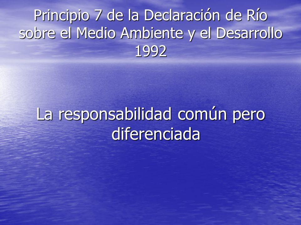 Principio 7 de la Declaración de Río sobre el Medio Ambiente y el Desarrollo 1992 La responsabilidad común pero diferenciada