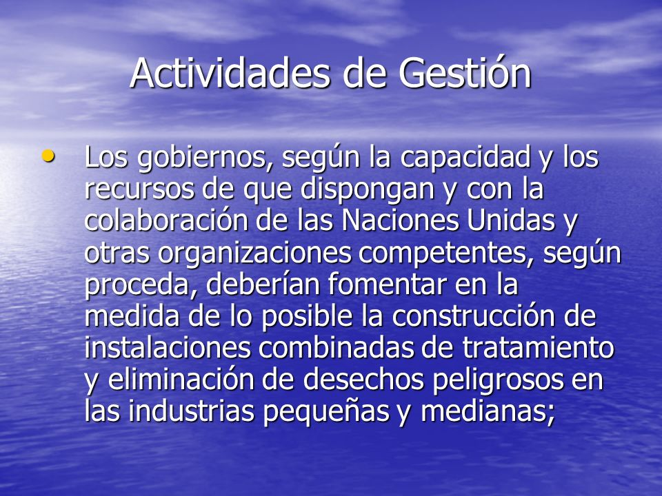 Actividades de Gestión Los gobiernos, según la capacidad y los recursos de que dispongan y con la colaboración de las Naciones Unidas y otras organiza