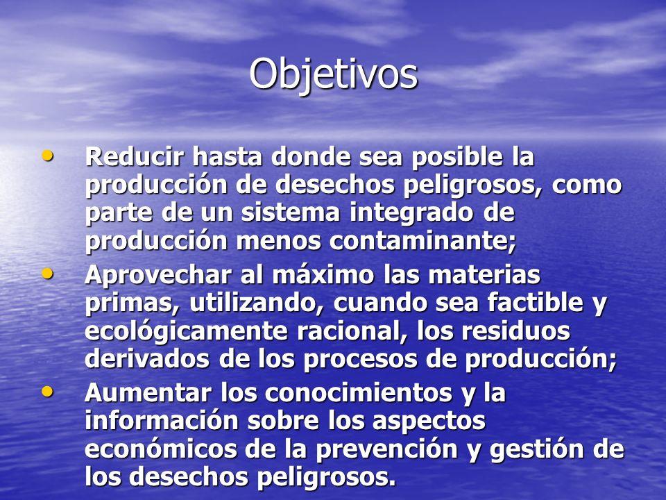 Objetivos Reducir hasta donde sea posible la producción de desechos peligrosos, como parte de un sistema integrado de producción menos contaminante; R