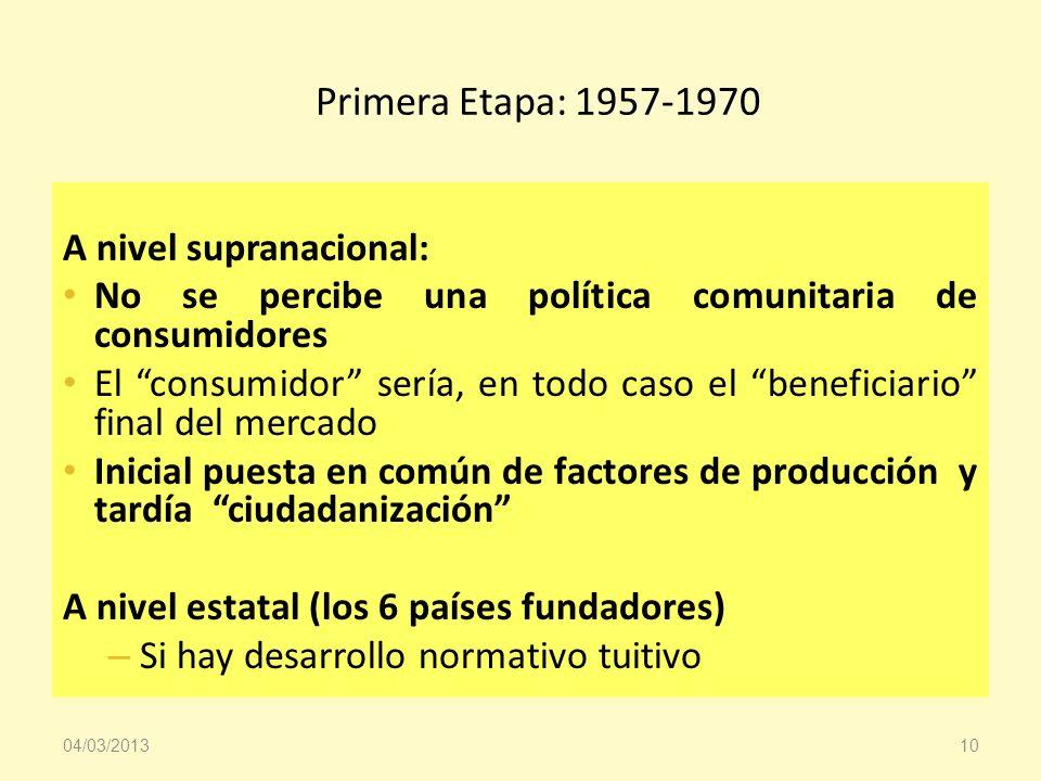 Primera Etapa: 1957-1970 A nivel supranacional: No se percibe una política comunitaria de consumidores El consumidor sería, en todo caso el beneficiar