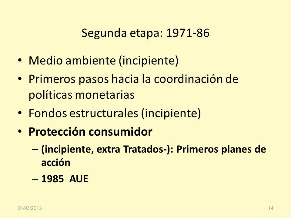 Segunda etapa: 1971-86 Medio ambiente (incipiente) Primeros pasos hacia la coordinación de políticas monetarias Fondos estructurales (incipiente) Prot