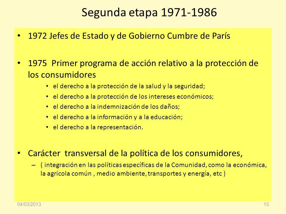 Segunda etapa 1971-1986 1972 Jefes de Estado y de Gobierno Cumbre de París 1975 Primer programa de acción relativo a la protección de los consumidores