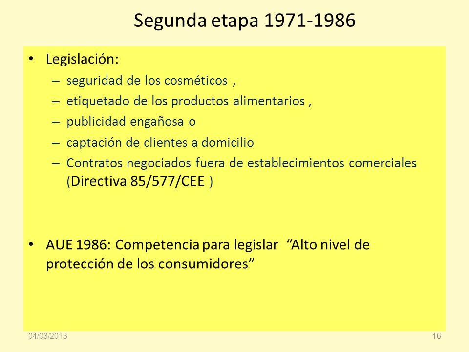 Segunda etapa 1971-1986 Legislación: – seguridad de los cosméticos, – etiquetado de los productos alimentarios, – publicidad engañosa o – captación de
