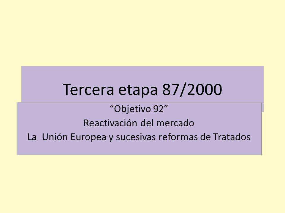 Tercera etapa 87/2000 Objetivo 92 Reactivación del mercado La Unión Europea y sucesivas reformas de Tratados