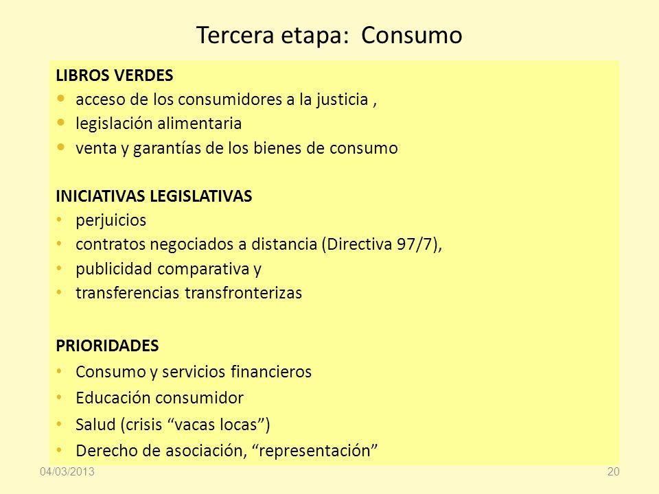 Tercera etapa: Consumo LIBROS VERDES acceso de los consumidores a la justicia, legislación alimentaria venta y garantías de los bienes de consumo INIC