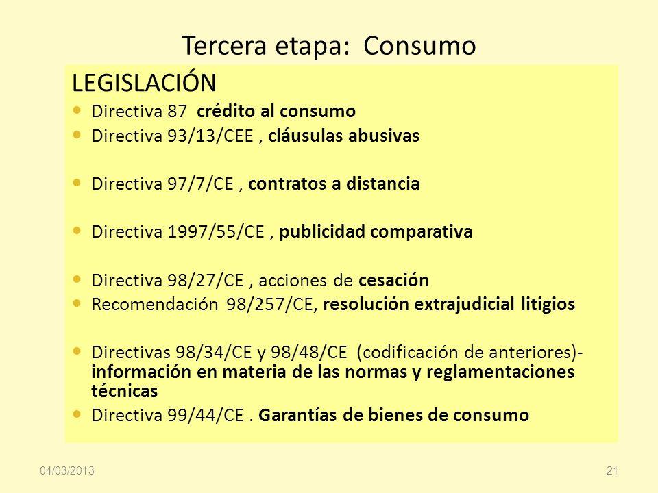 Tercera etapa: Consumo LEGISLACIÓN Directiva 87 crédito al consumo Directiva 93/13/CEE, cláusulas abusivas Directiva 97/7/CE, contratos a distancia Di