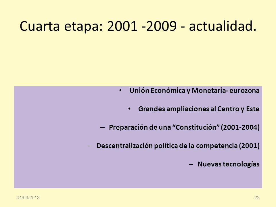 Cuarta etapa: 2001 -2009 - actualidad. Unión Económica y Monetaria- eurozona Grandes ampliaciones al Centro y Este – Preparación de una Constitución (