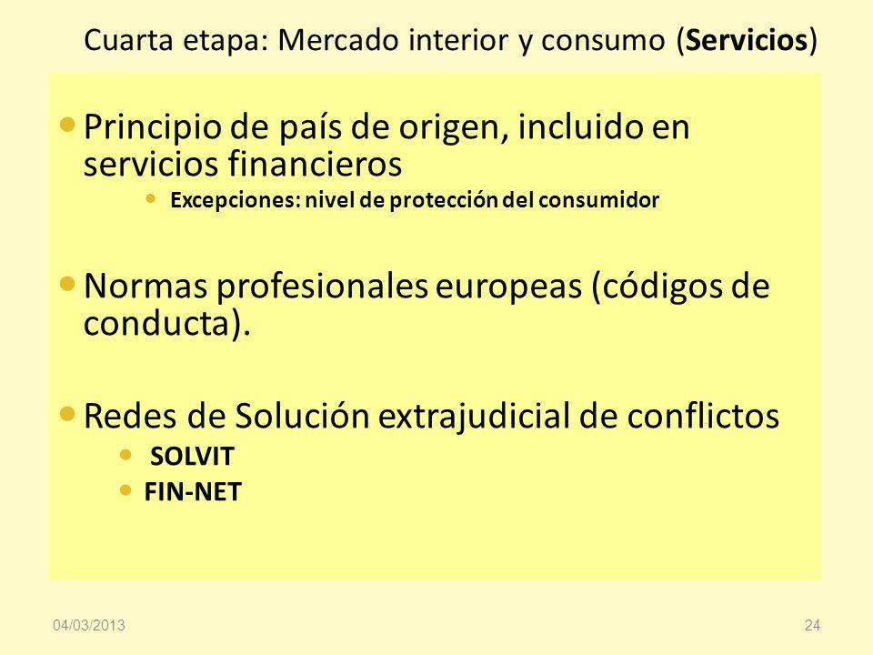 Cuarta etapa: Mercado interior y consumo (Servicios) Principio de país de origen, incluido en servicios financieros Excepciones: nivel de protección d