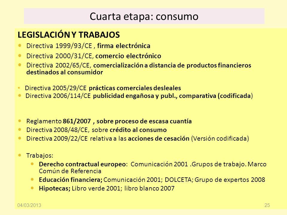 Cuarta etapa: consumo LEGISLACIÓN Y TRABAJOS Directiva 1999/93/CE, firma electrónica Directiva 2000/31/CE, comercio electrónico Directiva 2002/65/CE,
