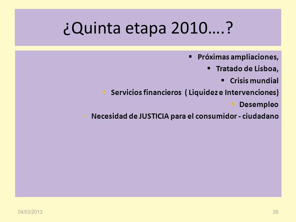 ¿Quinta etapa 2010….? Próximas ampliaciones, Tratado de Lisboa, Crisis mundial Servicios financieros ( Liquidez e Intervenciones) Desempleo Necesidad