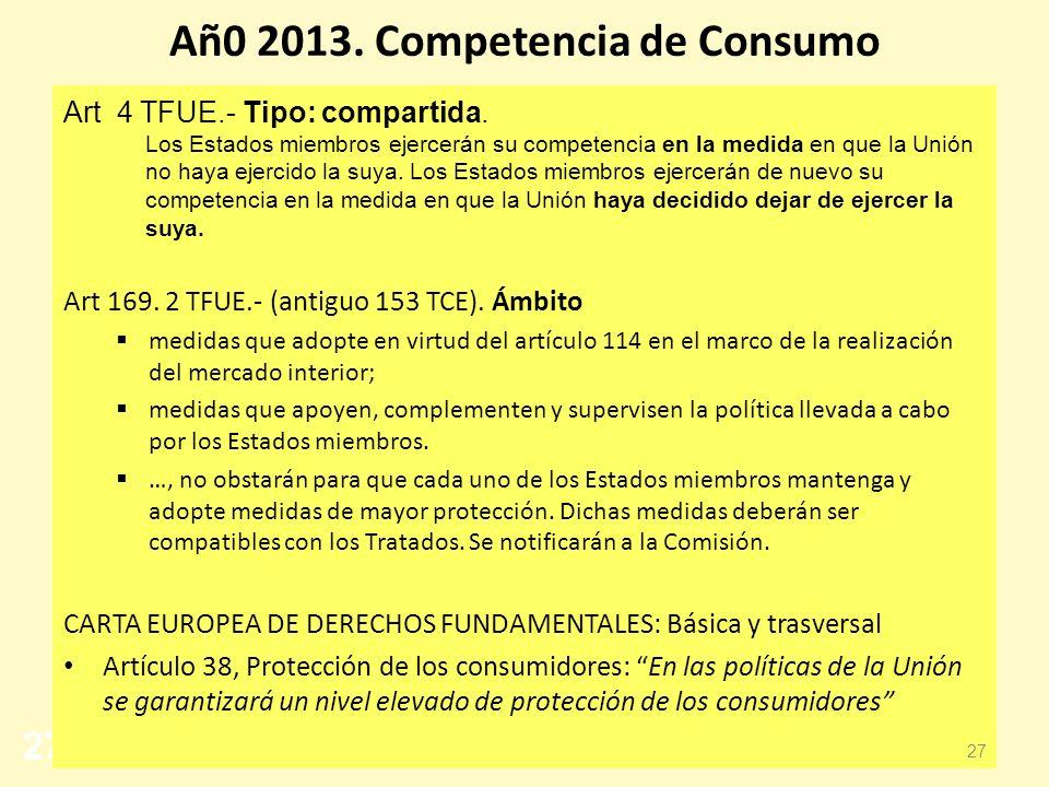 27 Añ0 2013. Competencia de Consumo Art 4 TFUE.- Tipo: compartida. Los Estados miembros ejercerán su competencia en la medida en que la Unión no haya