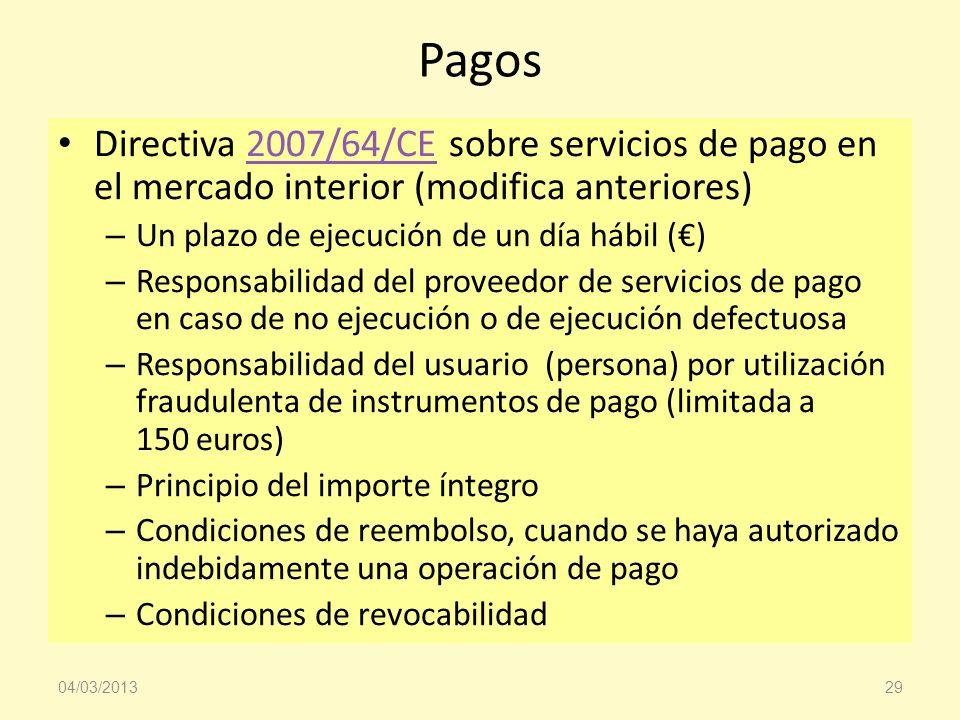 Pagos Directiva 2007/64/CE sobre servicios de pago en el mercado interior (modifica anteriores)2007/64/CE – Un plazo de ejecución de un día hábil () –