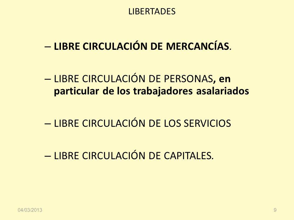 LIBERTADES – LIBRE CIRCULACIÓN DE MERCANCÍAS. – LIBRE CIRCULACIÓN DE PERSONAS, en particular de los trabajadores asalariados – LIBRE CIRCULACIÓN DE LO