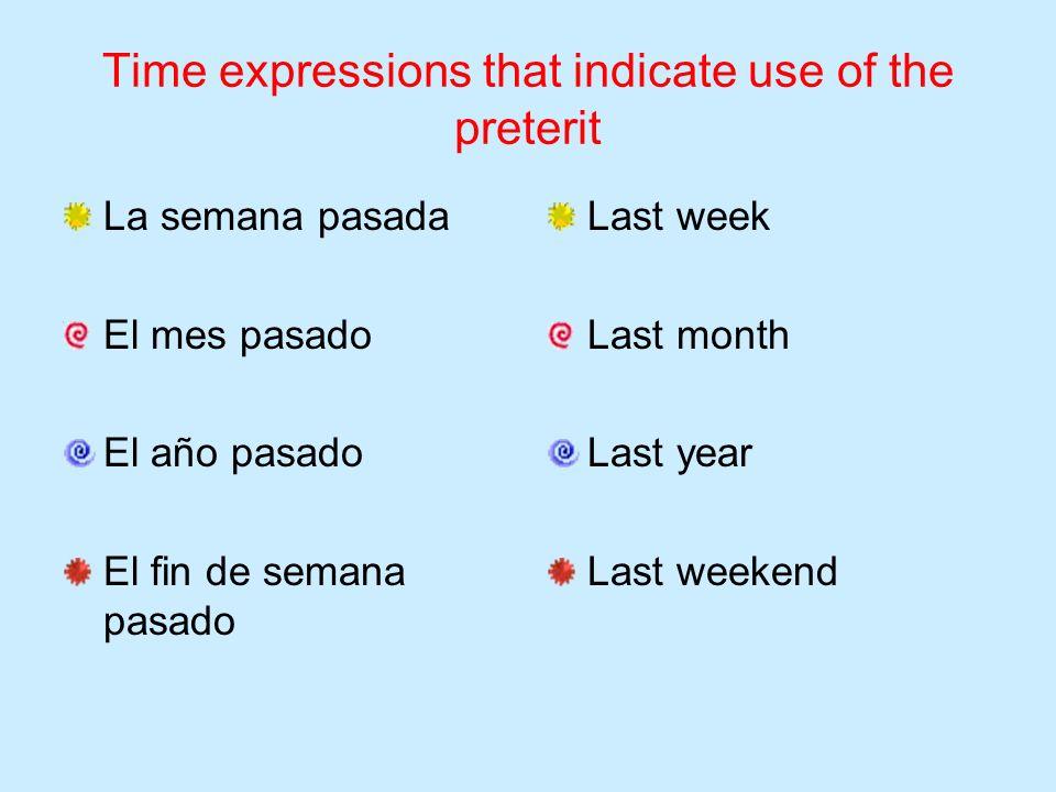 Time expressions that indicate use of the preterit La semana pasada El mes pasado El año pasado El fin de semana pasado Last week Last month Last year Last weekend